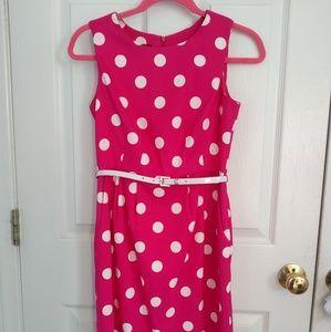 2/$15 AGB pink polka dot sheath dress size 4p